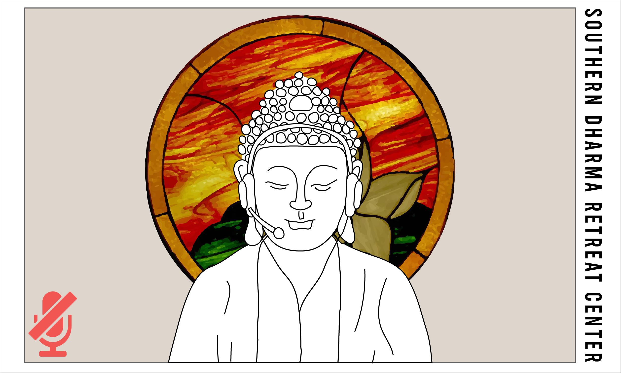 Buddha wearing a Zoom headset